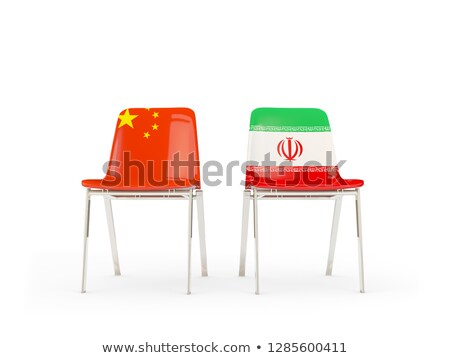 Two chairs with flags of China and iran isolated on white Stock photo © MikhailMishchenko
