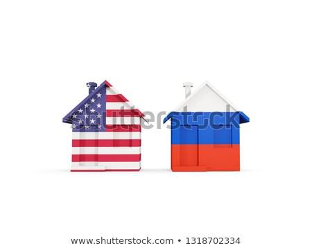 Iki evler bayraklar Amerika Birleşik Devletleri Rusya yalıtılmış Stok fotoğraf © MikhailMishchenko