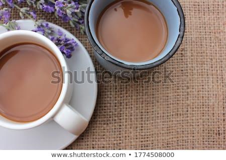 Kettő csészék kávé virágcsokor virágok levendula Stock fotó © Illia