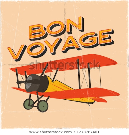 Vintage avion affiche voyage citer graphique Photo stock © JeksonGraphics