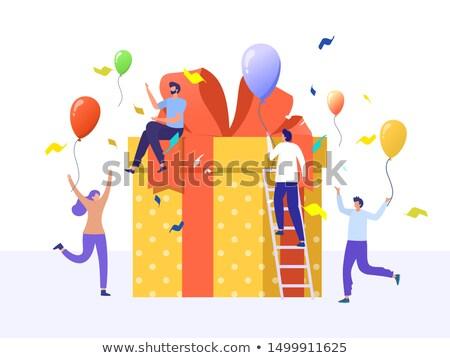 Heureux équipe confettis bureau fête d'anniversaire entreprise Photo stock © dolgachov