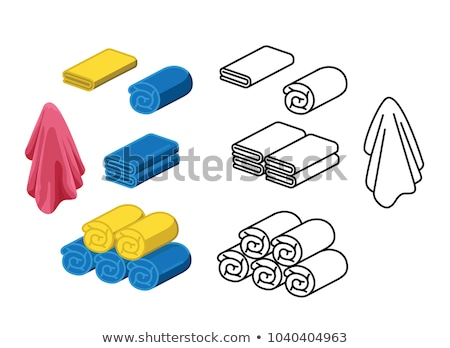Beach color outline isometric concept icons Stock photo © netkov1