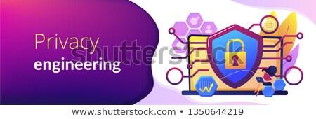 Privacidade engenharia bandeira engenheiro laptop Foto stock © RAStudio