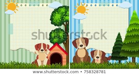 Papel plantilla dos cute perros ilustración Foto stock © colematt