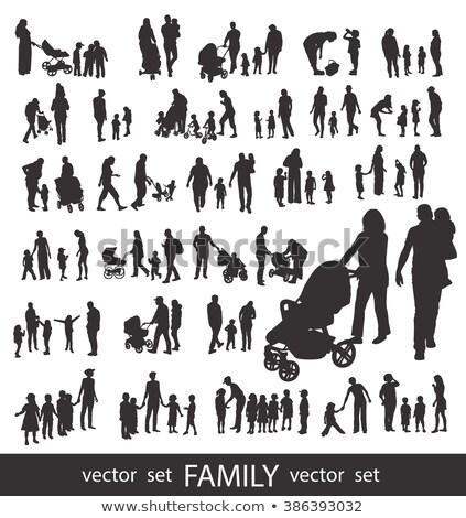 pai · jogar · crianças · ilustração · céu · família - foto stock © krisdog