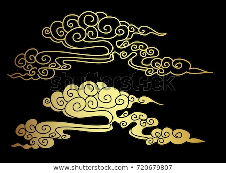 Wolk chinese stijl abstract zwarte goud Stockfoto © olehsvetiukha