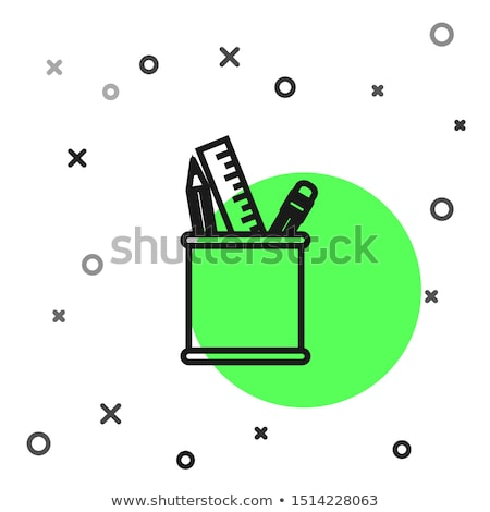 Pencil and ruler in the holder Stock photo © bluering