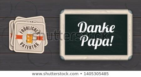 Wood Beer Coasters Vatertag Danke Papa Blackboard Stock photo © limbi007