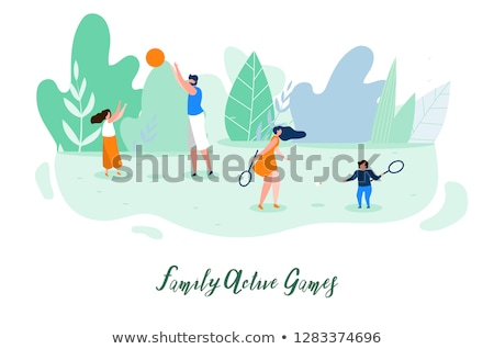People Playing Badminton Outdoor, Nature Vector Stock photo © robuart