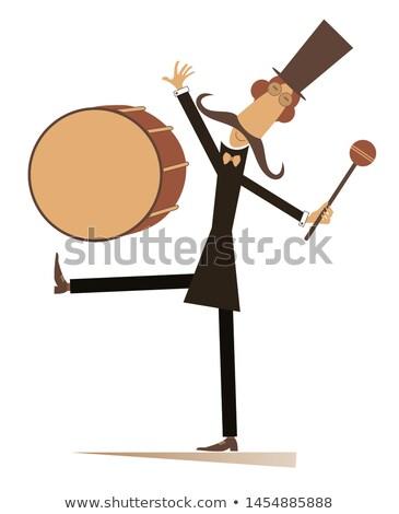 смешные усы барабанщик изолированный иллюстрация человека Сток-фото © tiKkraf69
