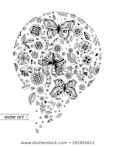 Círculo quadro criador abstrato flores Foto stock © user_10144511