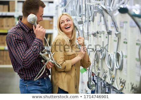 Boldog családok vásárlás nagy áruház háló Stock fotó © robuart
