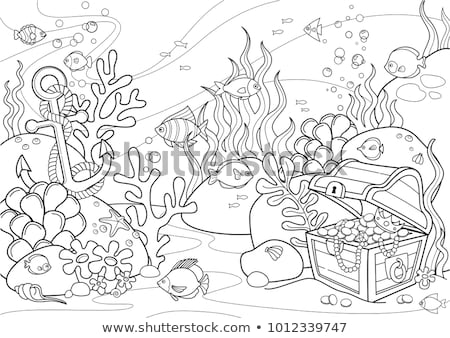 Black Line Art Shell and Pearl Cartoon on a White Background Stock photo © cidepix