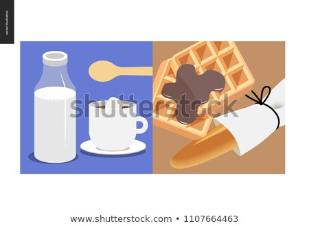 Glass of fresh milk with sugar and spoon. Vector illustration Stock photo © Imaagio