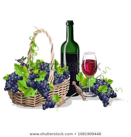 wijn · stilleven · realistisch · mand · druiven · glas - stockfoto © robuart