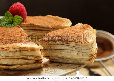 Tiramisu crêpe cake voedsel kaas Stockfoto © Alex9500