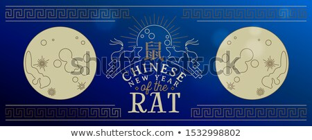 Chinese new year of rat 2020 gold line moon banner Stock photo © cienpies