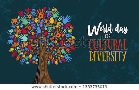 cultuur- · diversiteit · kaart · etnische · mensen - stockfoto © cienpies
