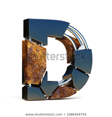Concrete fracture font Letter D 3D Stock photo © djmilic