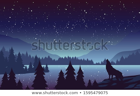 Forest landscape with wolf flat vector illustration Stock photo © barsrsind