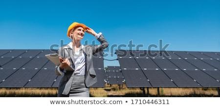 Donna d'affari fattoria solare imprenditrice piedi fotovoltaico Foto d'archivio © Kzenon