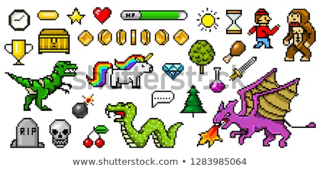 Dinosaur Unicorn, Pixel Game Pixelated Graphics Stock photo © robuart