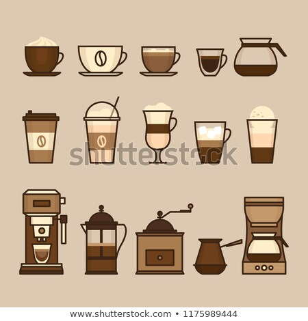 Pot espresso kahve fincanı ikon fincan tabağı yalıtılmış Stok fotoğraf © robuart