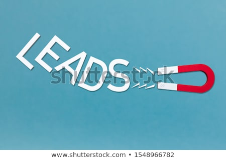 Magnet Attract The White Text Leads On Blue Backdrop Stock photo © AndreyPopov