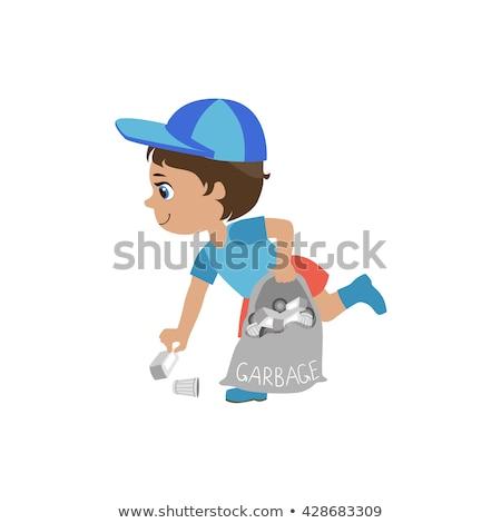 мальчика вверх мусор изолированный иллюстрация Сток-фото © bluering