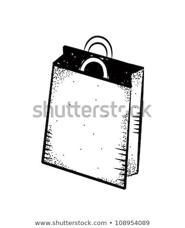 Shopping bag in bianco e nero sketch icona isolato Foto d'archivio © robuart