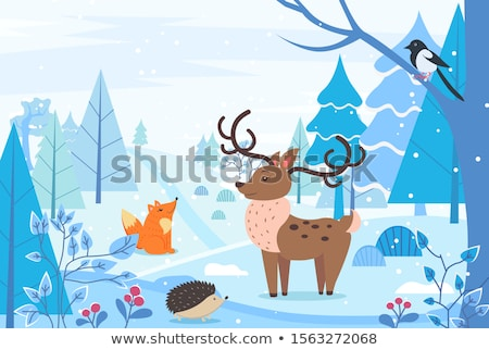 Winter Landscape with Animals, Deer and Fox Urchin Stock photo © robuart
