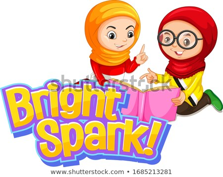 Font design for word bright spark with two muslim girls Stock photo © bluering