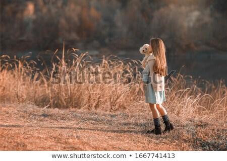 Mooie jonge vrouw poedel dwerg ras mode Stockfoto © ElenaBatkova