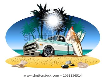 Vector cartoon retro pickup on beach Stock photo © mechanik