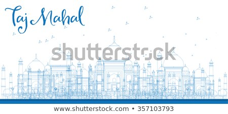 Outline Taj Mahal City Skyscrapers in blue color.  Stock photo © ShustrikS