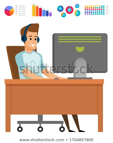 Worker Using Computer, Diagram Set, Hobby Vector Stock photo © robuart