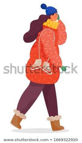 Woman Walking Alone with Skates, Seasonal Clothes Stock photo © robuart