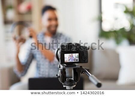 Férfi blogger fejhallgató otthon blogolás emberek Stock fotó © dolgachov