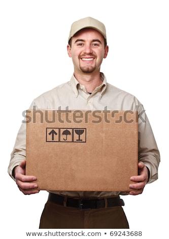 Jovem masculino correio caixa isolado branco Foto stock © Elnur