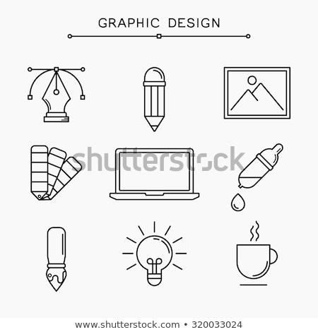 Design gráfico paleta cor escove papel néon Foto stock © yupiramos