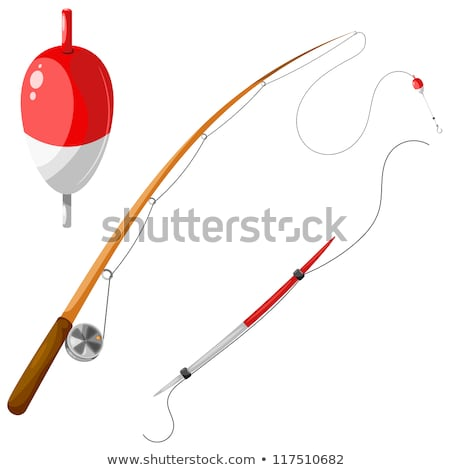 Trout Fish With Fishing Rod and Reel Cartoon Black and White Stock photo © patrimonio