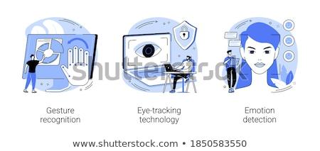 Twarz uznanie wektora metafora osobowych identyfikacja Zdjęcia stock © RAStudio