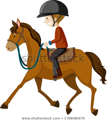 Young man wearing helmet or rider riding a horse cartoon isolate Stock photo © bluering
