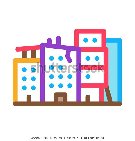 Elpusztított toronyház épületek ikon vektor skicc Stock fotó © pikepicture