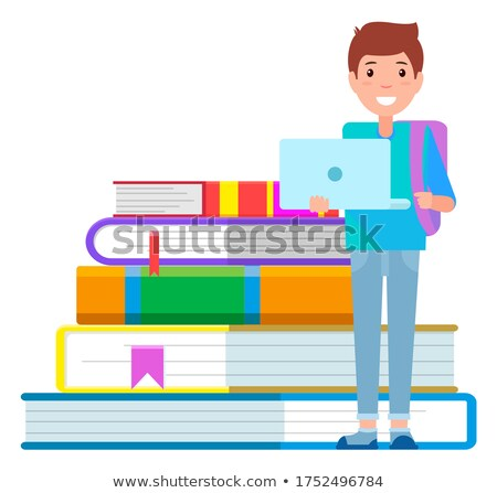 Boy Stand with Laptop near Stack of Books, Library Stock photo © robuart