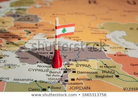 Líbano · mapa · placa · sinalizadora · isolado · branco · estrada - foto stock © speedfighter