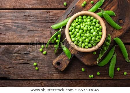 Stock fotó: Friss · zöld · zöldség · bab · fehér · háttér · organikus