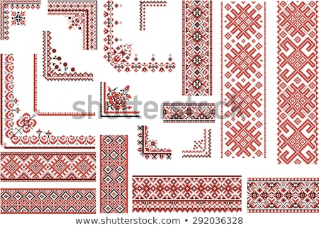 Ukrainian embroidery flowers red and black Stock photo © tottoro