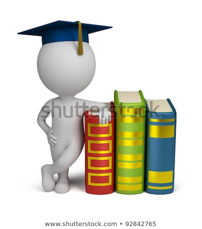 Stock photo: 3d small people - graduate and books
