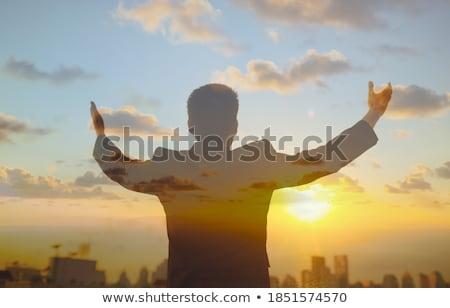 монах · религиозных · серый · Библии · молятся · темно - Сток-фото © lisafx